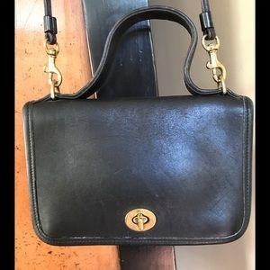 VTG Coach Casino Crossbody Bag Black Leather 9924